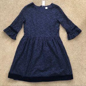 NWT Gap Kids Navy Lace Dress Velvet Trim XXL 14 16